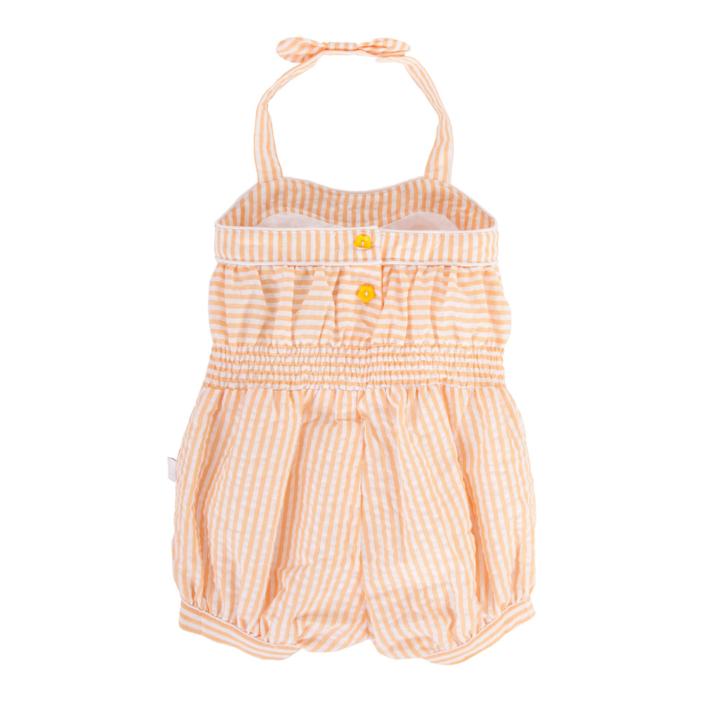 Olympia Playsuit In Orange Seersucker