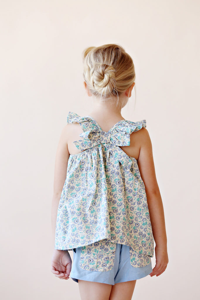CHARLOTTE TOP IN BLUE FLORAL