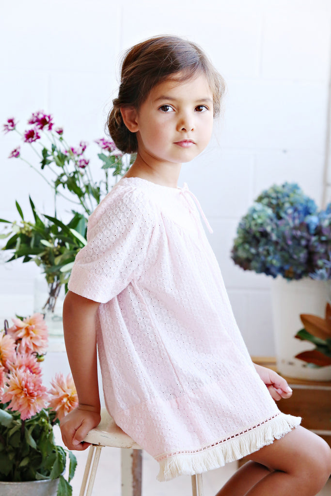 NATALIA DRESS IN PINK BROIDIERE