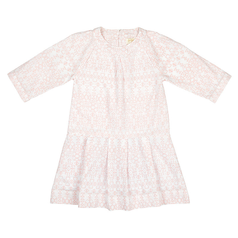 HARTLEY DRESS IN PINK CROSSTITCH