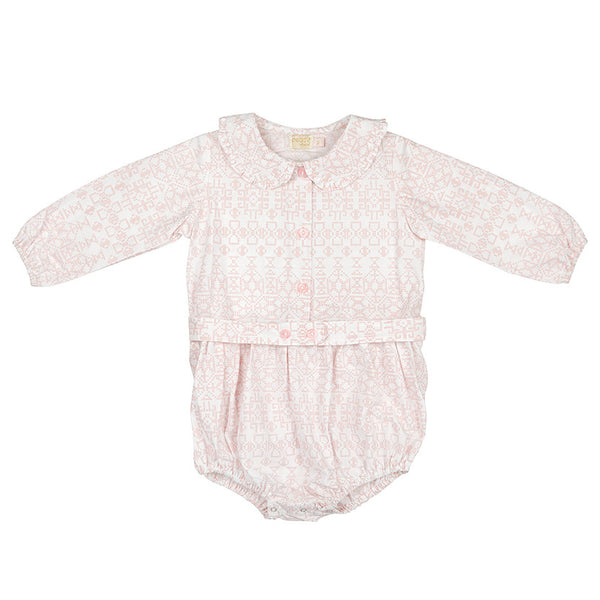 OLIVIA PLAYSUIT IN PINK CROSSTITCH
