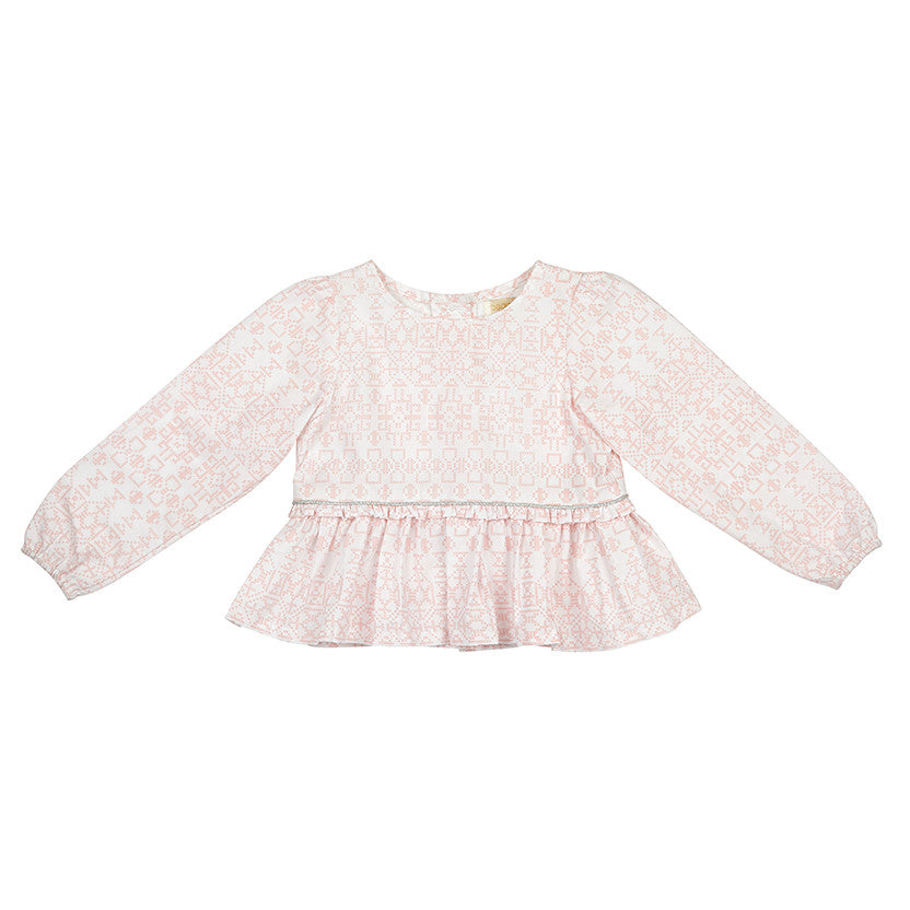 CHLOE TOP IN PINK CROSSTITCH