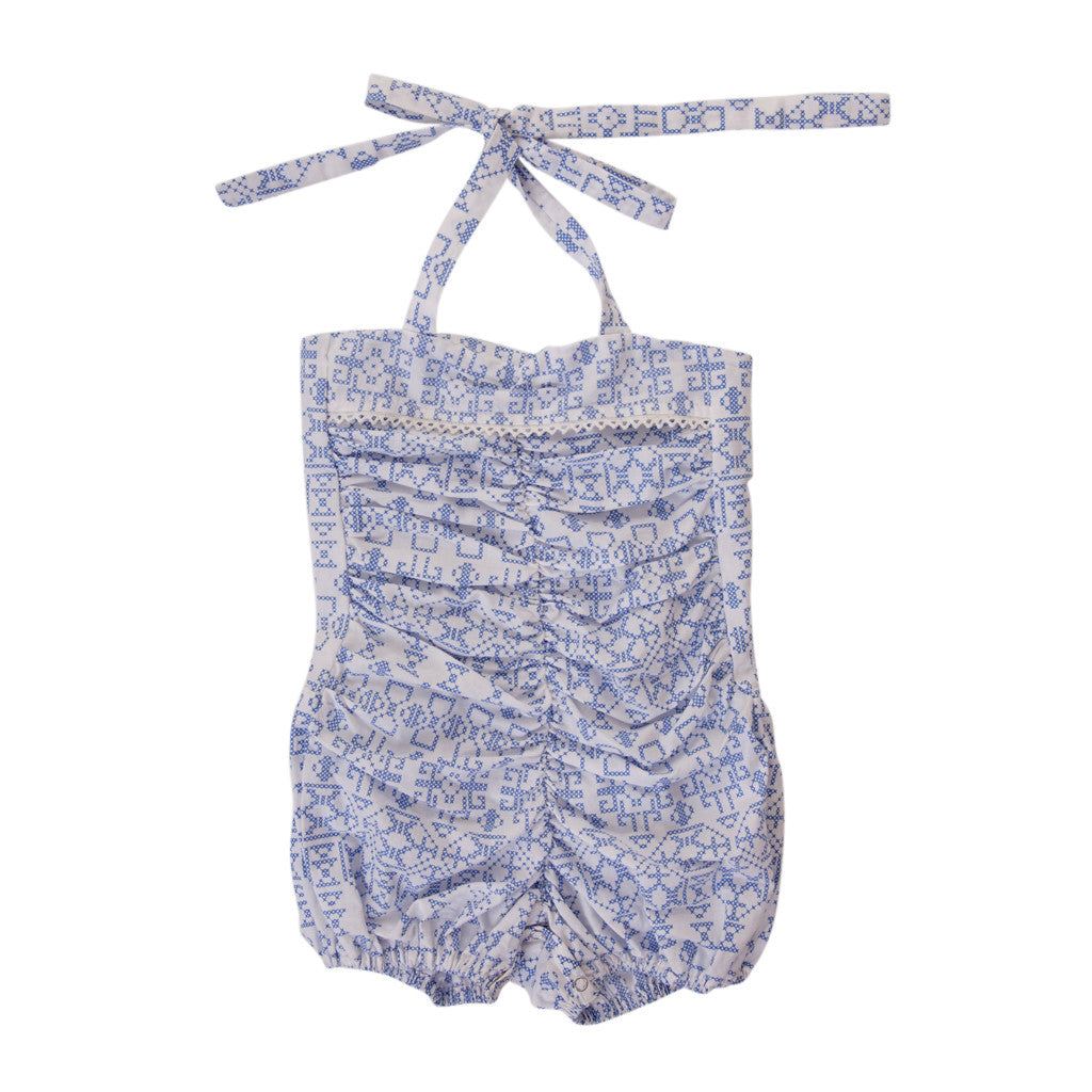 ISLA PLAYSUIT IN BLUE CROSS STITCH