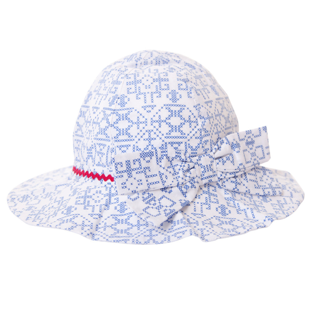 MELISSA HAT IN BLUE CROSS STITCH