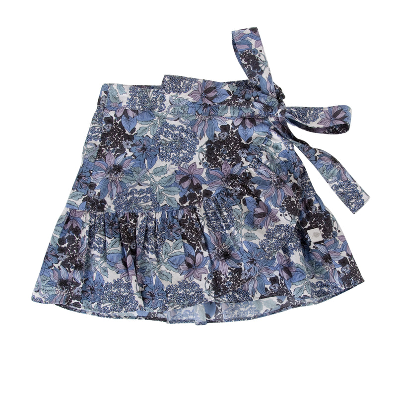 Amelie Wrap Skirt In Blue Floral