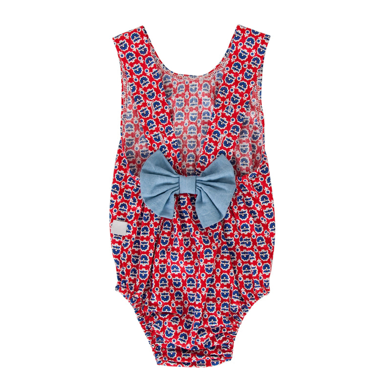 Anais Playsuit In Retro Red Floral