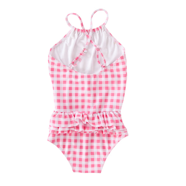 Audrey Frill Swimsuit In Pink/Red Gingham