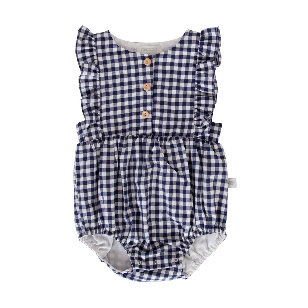 August Playsuit In Navy Check Gingham