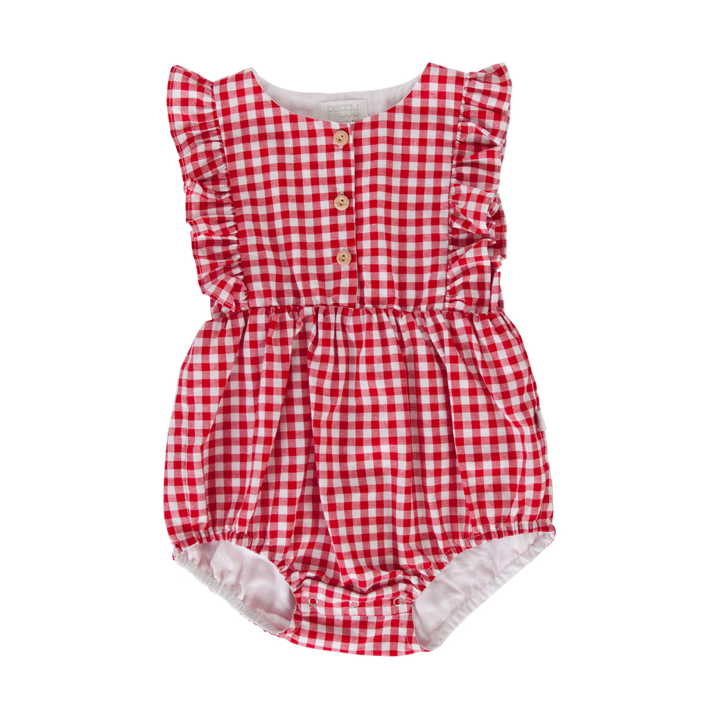 August Playsuit In Red Check Gingham