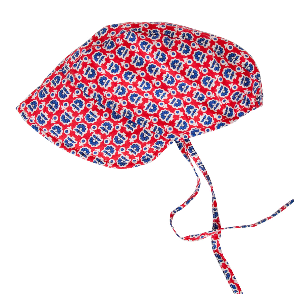 Daisy Bonnet In Retro Red Floral