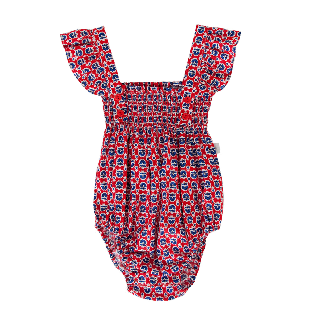 Edie Playsuit In Retro Red Floral