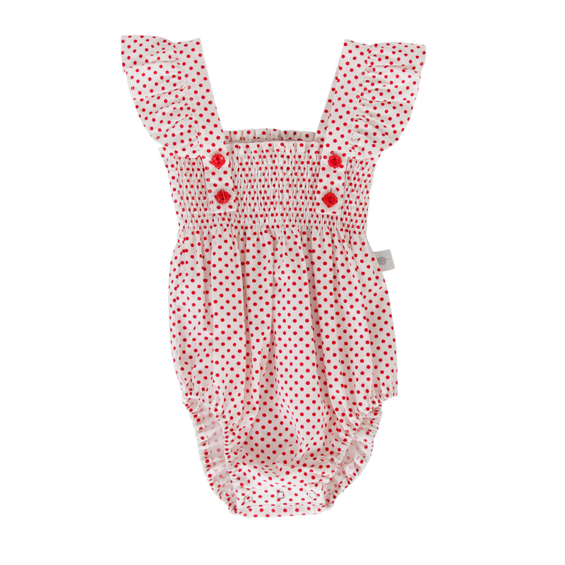 Edie Playsuit In White/Red Dot