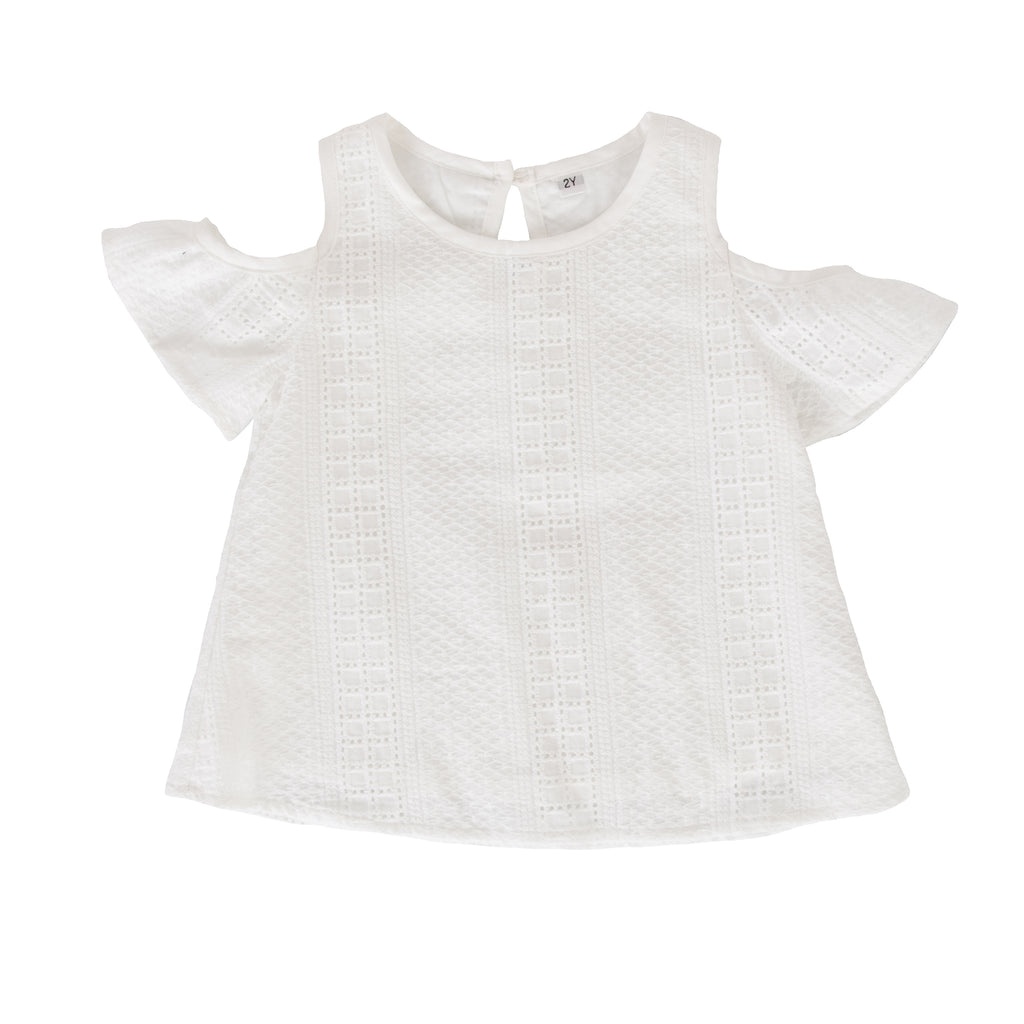 Elune Swing Top In White Broidere