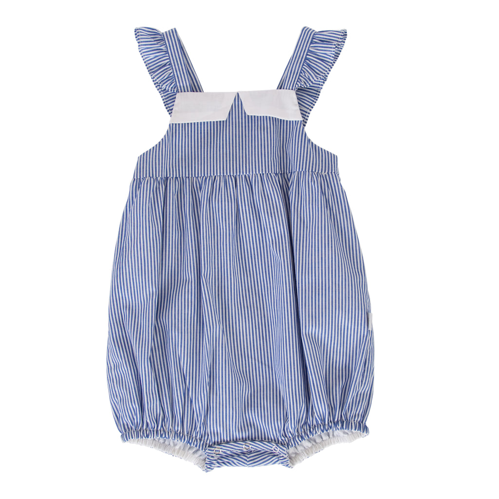 Hazel Playsuit In Blue Pinstripe