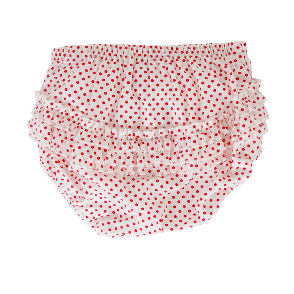 India Nappy Cover In White/Red Dot