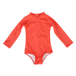 Maggie Long Sleeve Swimsuit In Hot Coral