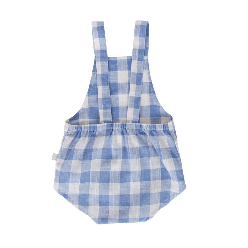 Saskia Playsuit In Baby Blue Check