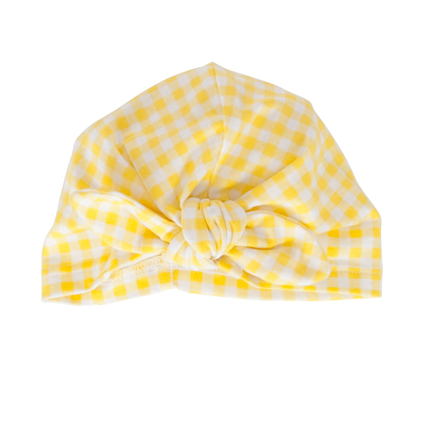 Vincy Turban Yellow Check Cotton Jersey/Elastane
