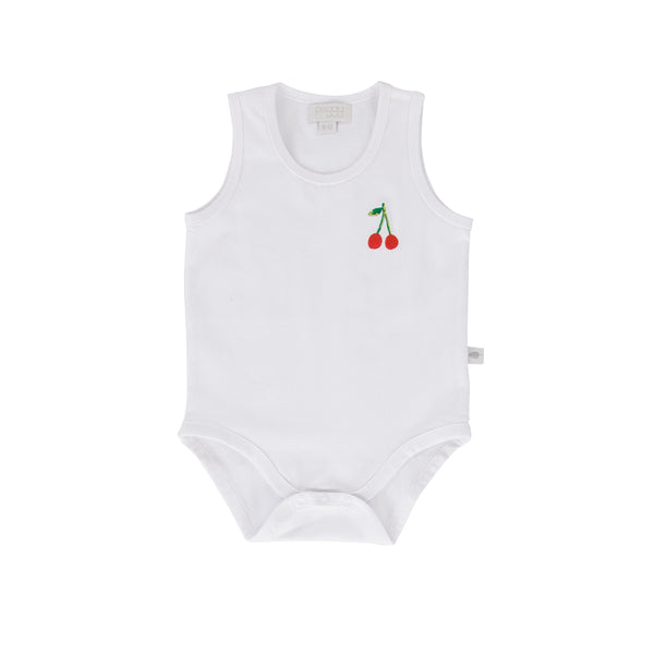Cherry Tank Bodysuit White Cotton With Cherry Embroidery
