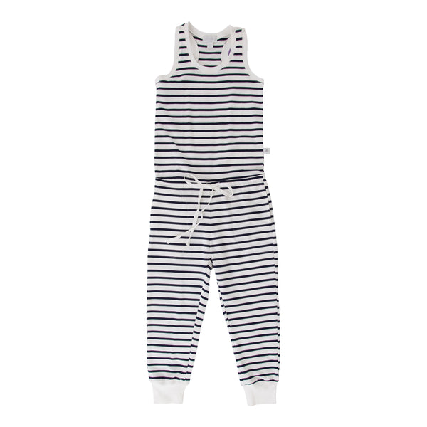 Eleneor Jumpsuit Navy/White Stripe - Organic Cotton