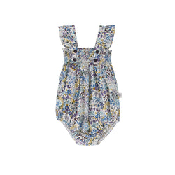 Edie Playsuit Blue Floral Vine