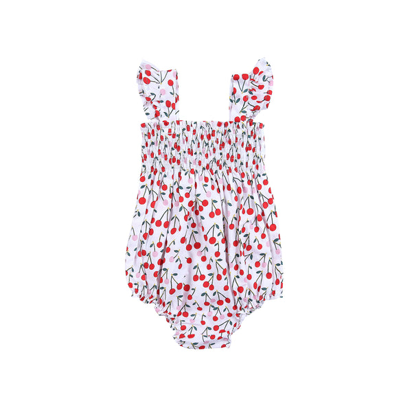 Edie Playsuit Woven Printed Cotton Cherry Print