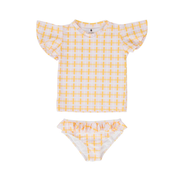 Goldie Rashie S/S And Goldie Bottom Set Pink/Yellow Check