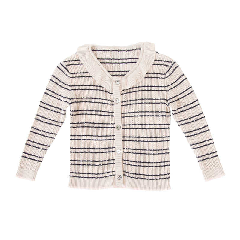 Victoria Knit Cardigan Blue Stripe with Pink Trim