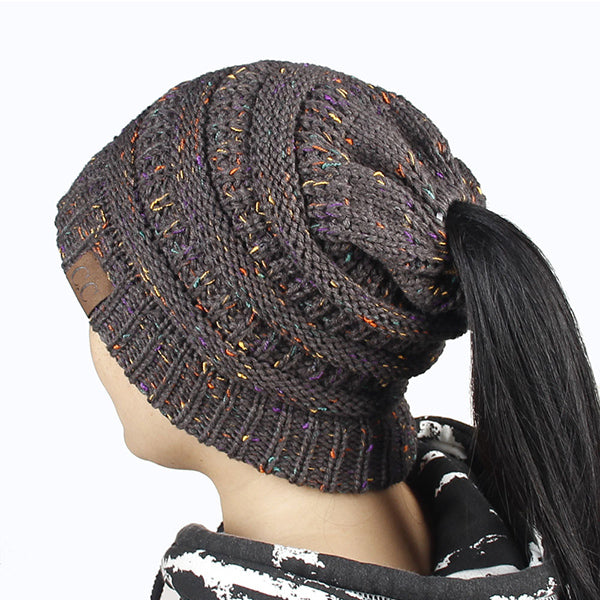 Warm Women s CC Ponytail Beanies Knitted Hat Chunky Messy Bun Holey Soft  Bonnet For Girls Winter 9b14eebe6e03