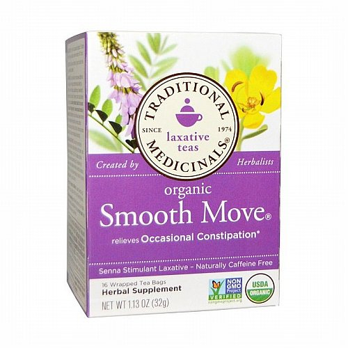 Traditional Medicinals, Traditional Medicinals, Laxative Teas, Organic Smooth Move, Senna Stimulant Laxative, Naturally Caffeine Free Herbal Tea, 16 Wrapped Tea Bags, 1.13 oz (32 g)