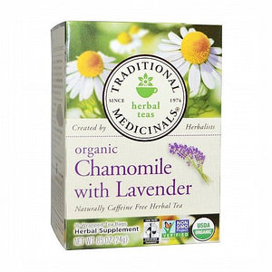 Traditional Medicinals, Traditional Medicinals, Herbal Teas, Organic Chamomile with Lavender, Naturally Caffeine Free, 16 Wrapped Tea Bags, .85 oz (24 g)