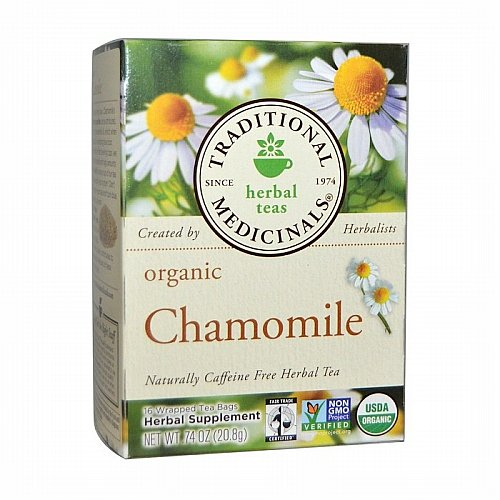 Traditional Medicinals, Traditional Medicinals, Herbal Teas, Organic Chamomile, Naturally Caffeine Free, 16 Wrapped Tea Bags, .74 oz (20.8 g)