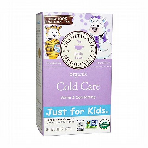 Traditional Medicinals, Traditional Medicinals, Just for Kids, Organic Cold Care, Naturally Caffeine Free Herbal Tea, 18 Tea Bags, .96 oz (27 g)