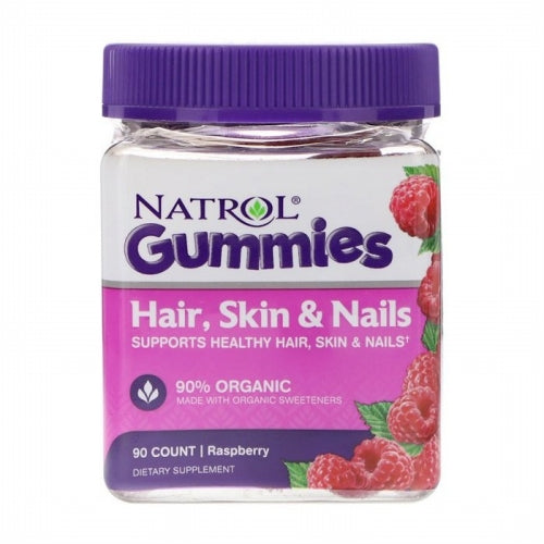Natrol, Gummies, Hair, Skin & Nails, Raspberry, 90 Count