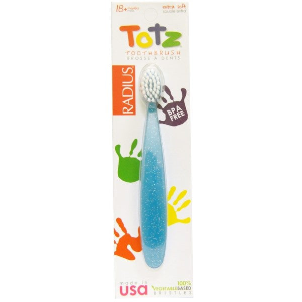 RADIUS, Totz Toothbrush, 18 + Months, Extra Soft, Light Blue Sparkle