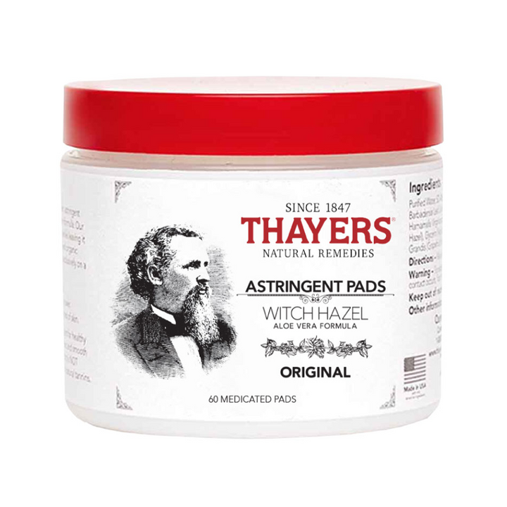 Thayers Witch Hazel Astringent Pads Original with Aloe Vera - 60 Pad(s)