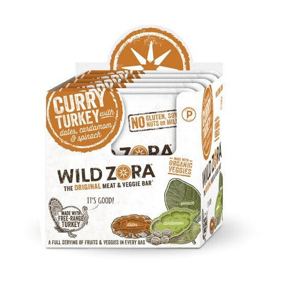 Wild Zora Meat & Veggie Bars Curry Turkey 1oz  10 Pack