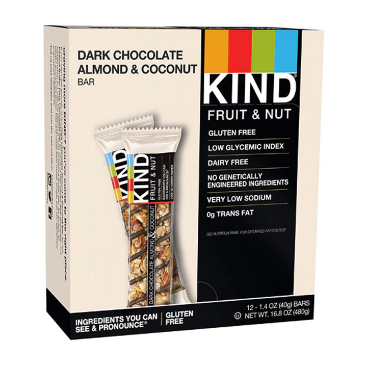 KIND Bars, Fruit & Nut Bars Dark Chocolate Almond Coconut -- 12 Bars