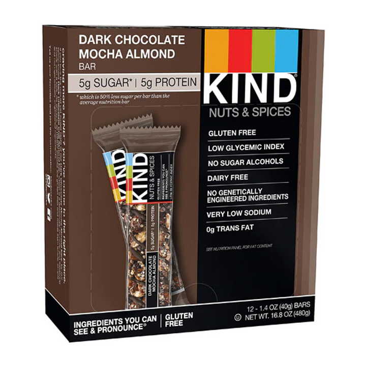 KIND Bars, Nuts & Spices, Dark Chocolate Mocha Almond, 12 Bars, 1.4 oz (40 g) Each
