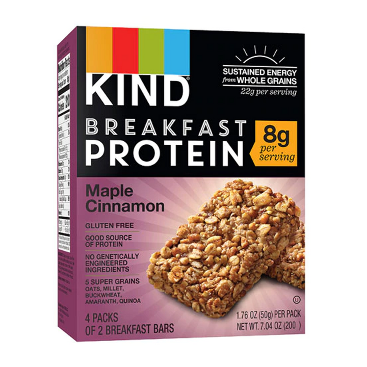 KIND Bars Breakfast Bars 8G Protein Gluten Free Maple Cinnamon -- 4 Packs of 2 Bars