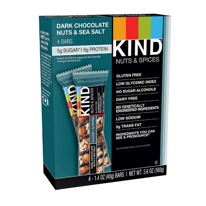 KIND Bars, Nuts & Spices Bars Dark Chocolate Nuts & Sea Salt -- 4 Bars
