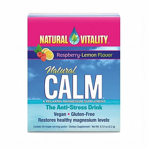 Natural Vitality, Natural Calm, The Anti-Stress Drink, Organic Raspberry-Lemon Flavor, 30 Single-Serving Packs, 0.12 oz (3.3 g)