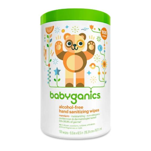 Babyganics Alcohol-Free Hand Sanitizing Wipes Canister Mandarin- 100ct