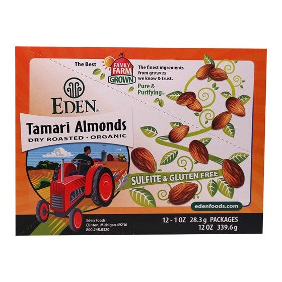 Eden Foods Pocket Snacks Tamari Almonds  12 Packages