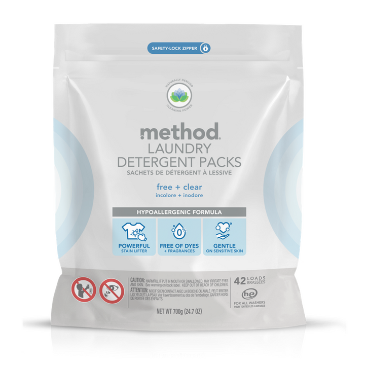 Method, Laundry Detergent Packs, Free + Clear, 42 Loads, 24.7 oz (700 g)