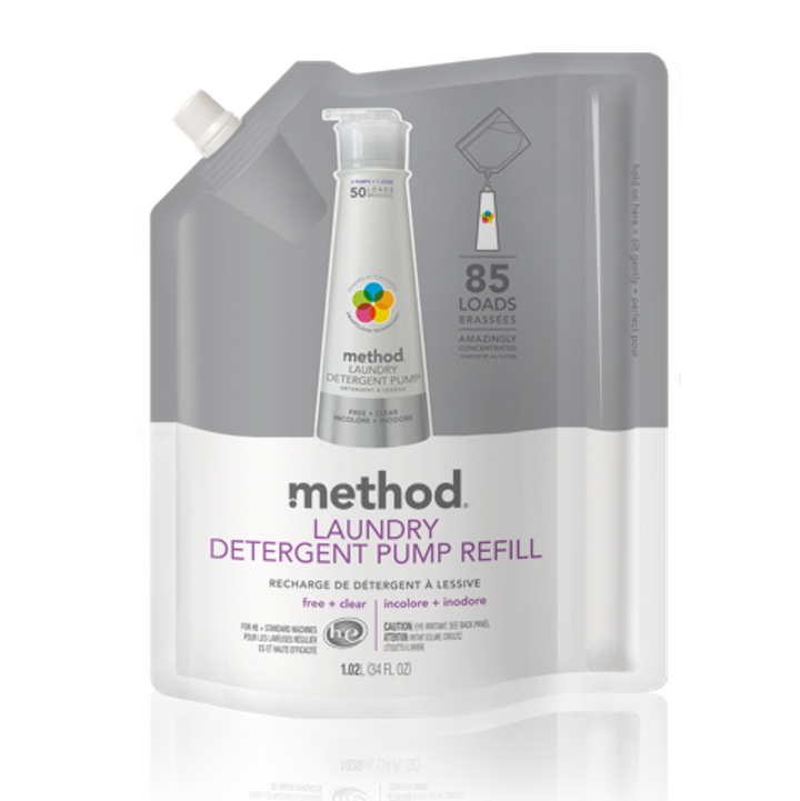 Method, Laundry Detergent Refill, 85 Loads, Free + Clear, 34 fl oz (1020 ml)