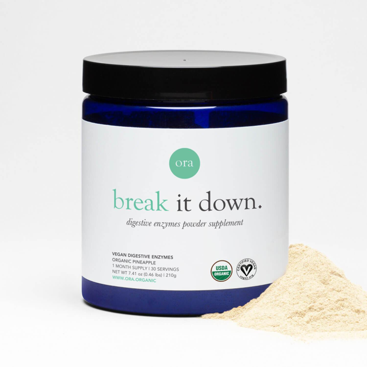 Ora Organic, Break It Down, Plant-Based Digestive Enzymes Powder, 30 Servings, 7.41 oz (210g)