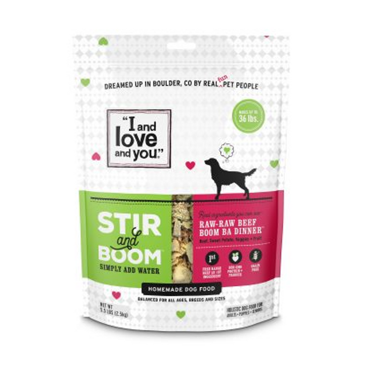 I and Love and You Raw Raw Beef Boom Ba Dinner, Grain Free Dehydrated Dog Food, 1.5 lb