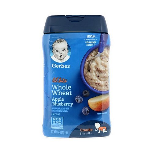 Gerber, Lil' Bits, Whole Wheat Cereal, Crawler, 8+ Months, Apple Blueberry, 8 oz (227 g)