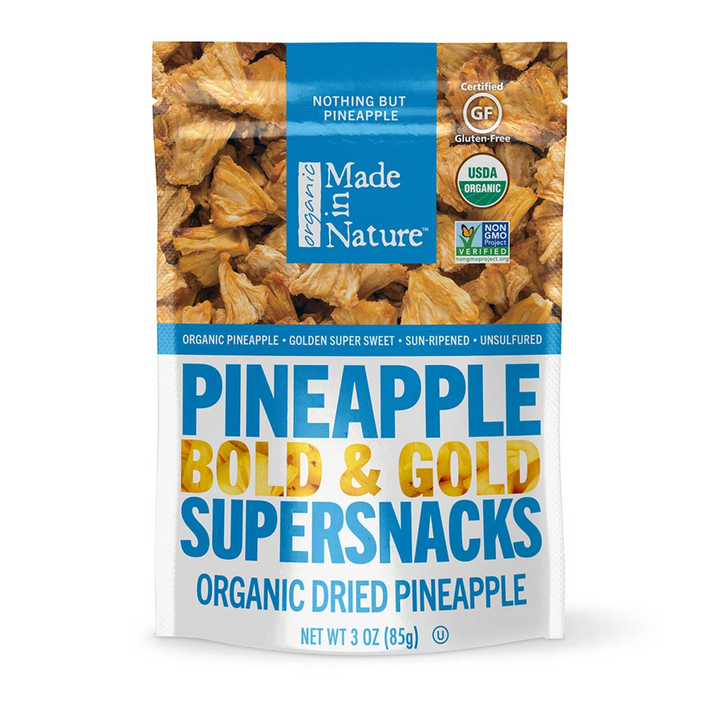 Made in Nature, Organic Dried Pineapple, Bold & Gold Supersnacks, 3 oz (85 g)